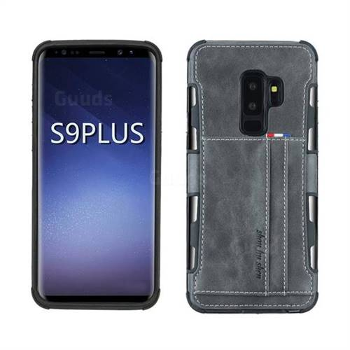 super popular 96f06 edfe5 Luxury Shatter-resistant Leather Coated Card Phone Case for Samsung Galaxy  S9 Plus(S9+) - Gray