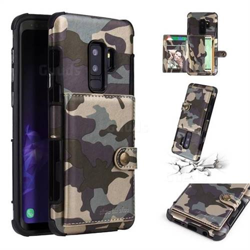 Camouflage Multi-function Leather Phone Case for Samsung Galaxy S9 Plus(S9+) - Gray