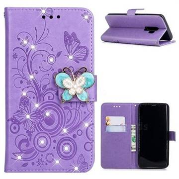 designer fashion f803d f2c12 Embossing Butterfly Circle Rhinestone Leather Wallet Case for Samsung  Galaxy S9 Plus(S9+) - Purple