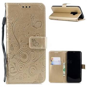 Intricate Embossing Butterfly Circle Leather Wallet Case for Samsung Galaxy S9 Plus(S9+) - Champagne