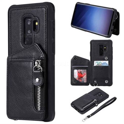 Classic Luxury Buckle Zipper Anti-fall Leather Phone Back Cover for Samsung Galaxy S9 Plus(S9+) - Black