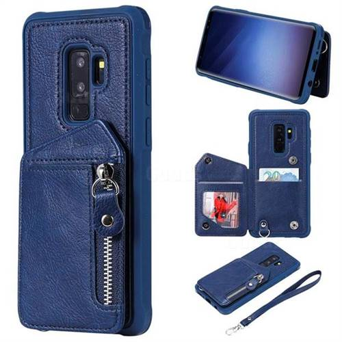 Classic Luxury Buckle Zipper Anti-fall Leather Phone Back Cover for Samsung Galaxy S9 Plus(S9+) - Blue
