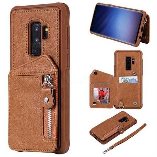 Classic Luxury Buckle Zipper Anti-fall Leather Phone Back Cover for Samsung Galaxy S9 Plus(S9+) - Brown