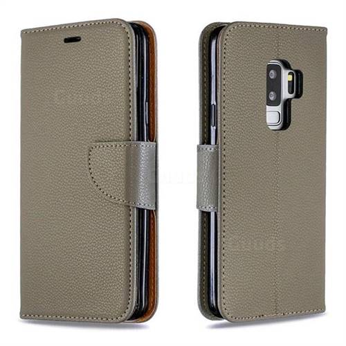 Classic Luxury Litchi Leather Phone Wallet Case for Samsung Galaxy S9 Plus(S9+) - Gray