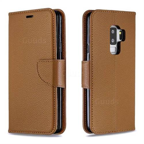 Classic Luxury Litchi Leather Phone Wallet Case for Samsung Galaxy S9 Plus(S9+) - Brown