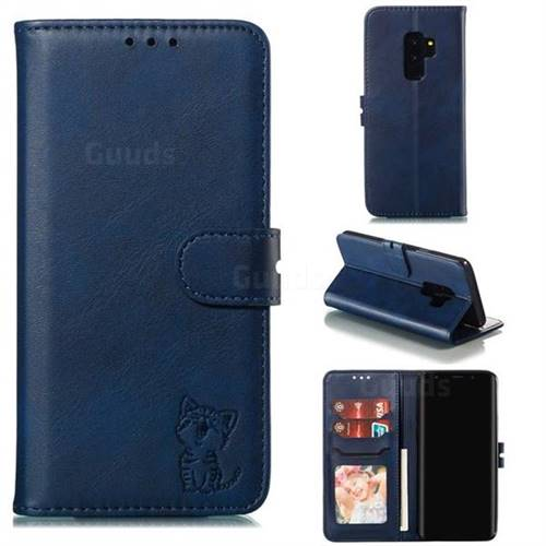 Embossing Happy Cat Leather Wallet Case for Samsung Galaxy S9 Plus(S9+) - Blue