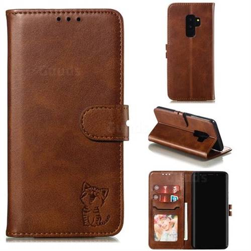 Embossing Happy Cat Leather Wallet Case for Samsung Galaxy S9 Plus(S9+) - Brown