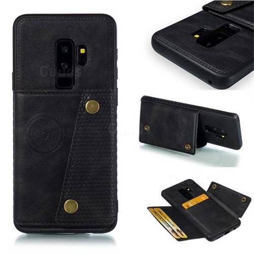 Retro Multifunction Card Slots Stand Leather Coated Phone Back Cover for Samsung Galaxy S9 Plus(S9+) - Black