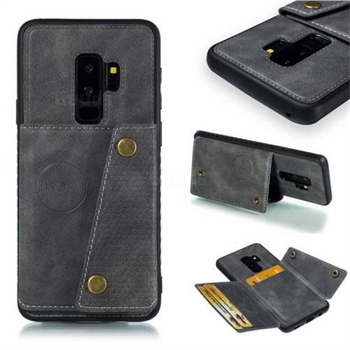 Retro Multifunction Card Slots Stand Leather Coated Phone Back Cover for Samsung Galaxy S9 Plus(S9+) - Gray