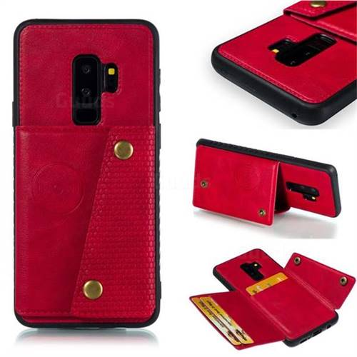 Retro Multifunction Card Slots Stand Leather Coated Phone Back Cover for Samsung Galaxy S9 Plus(S9+) - Red