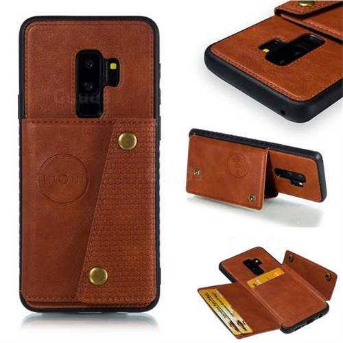 Retro Multifunction Card Slots Stand Leather Coated Phone Back Cover for Samsung Galaxy S9 Plus(S9+) - Brown