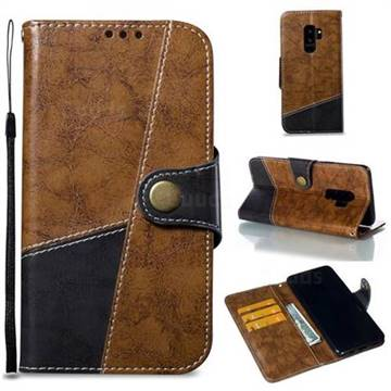 Retro Magnetic Stitching Wallet Flip Cover for Samsung Galaxy S9 Plus(S9+) - Brown