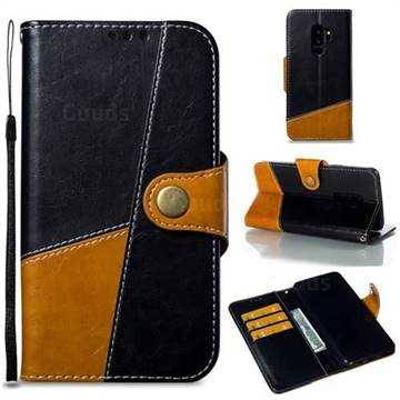 Retro Magnetic Stitching Wallet Flip Cover for Samsung Galaxy S9 Plus(S9+) - Black