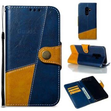 Retro Magnetic Stitching Wallet Flip Cover for Samsung Galaxy S9 Plus(S9+) - Blue