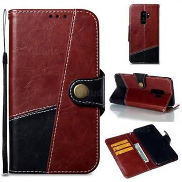 Retro Magnetic Stitching Wallet Flip Cover for Samsung Galaxy S9 Plus(S9+) - Dark Red