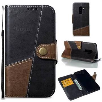 Retro Magnetic Stitching Wallet Flip Cover for Samsung Galaxy S9 Plus(S9+) - Dark Gray