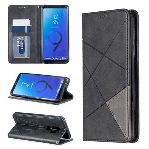 Prismatic Slim Magnetic Sucking Stitching Wallet Flip Cover for Samsung Galaxy S9 Plus(S9+) - Black