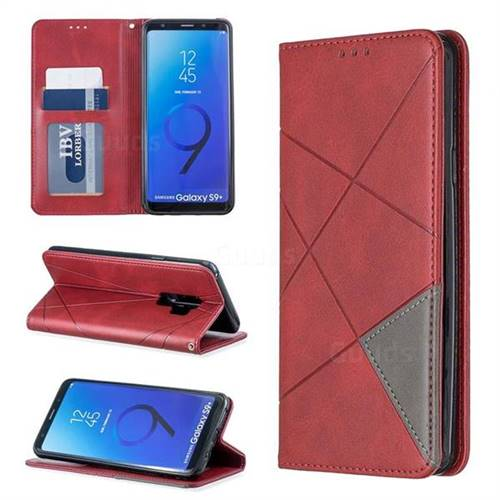 Prismatic Slim Magnetic Sucking Stitching Wallet Flip Cover for Samsung Galaxy S9 Plus(S9+) - Red