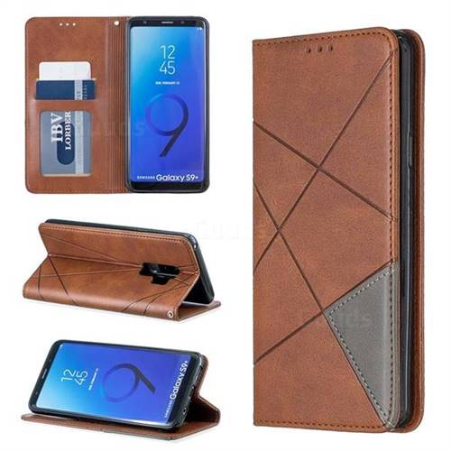 Prismatic Slim Magnetic Sucking Stitching Wallet Flip Cover for Samsung Galaxy S9 Plus(S9+) - Brown