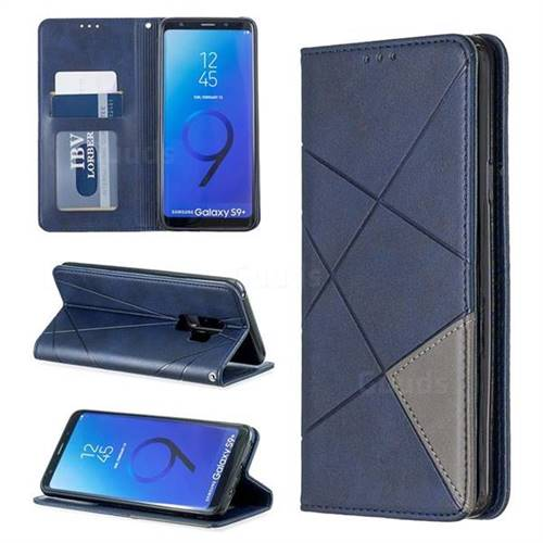 Prismatic Slim Magnetic Sucking Stitching Wallet Flip Cover for Samsung Galaxy S9 Plus(S9+) - Blue