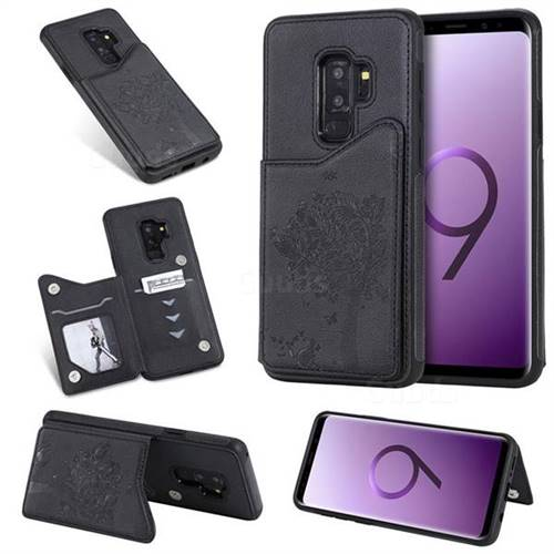 Luxury Tree and Cat Multifunction Magnetic Card Slots Stand Leather Phone Back Cover for Samsung Galaxy S9 Plus(S9+) - Black