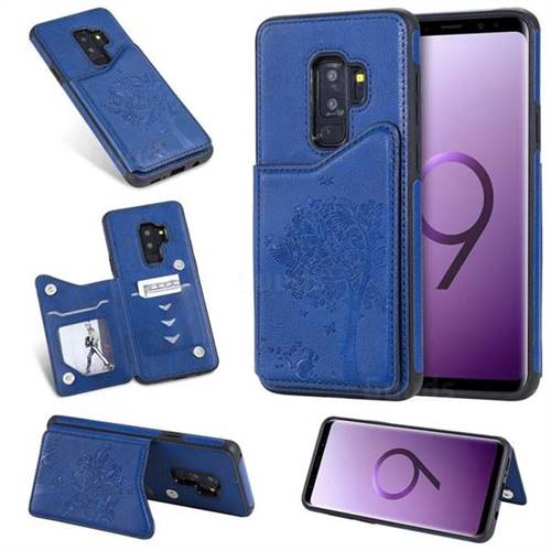 Luxury Tree and Cat Multifunction Magnetic Card Slots Stand Leather Phone Back Cover for Samsung Galaxy S9 Plus(S9+) - Blue