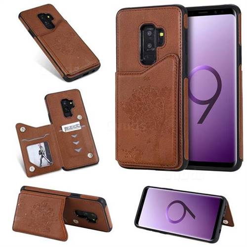 Luxury Tree and Cat Multifunction Magnetic Card Slots Stand Leather Phone Back Cover for Samsung Galaxy S9 Plus(S9+) - Brown