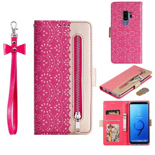 Luxury Lace Zipper Stitching Leather Phone Wallet Case for Samsung Galaxy S9 Plus(S9+) - Rose