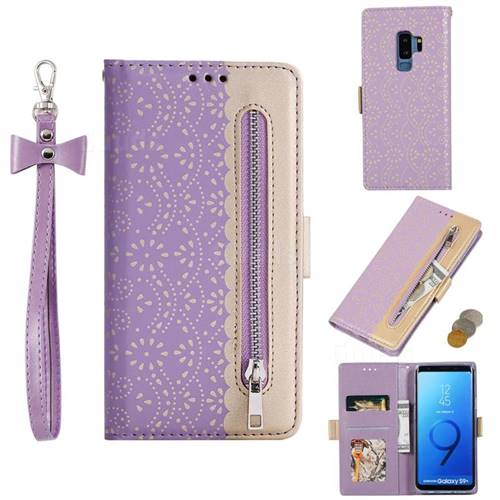 Luxury Lace Zipper Stitching Leather Phone Wallet Case for Samsung Galaxy S9 Plus(S9+) - Purple