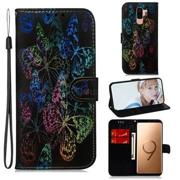 Black Butterfly Laser Shining Leather Wallet Phone Case for Samsung Galaxy S9 Plus(S9+)