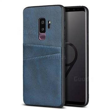 Simple Calf Card Slots Mobile Phone Back Cover for Samsung Galaxy S9 Plus(S9+) - Blue