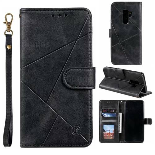 Embossing Geometric Leather Wallet Case for Samsung Galaxy S9 Plus(S9+) - Black