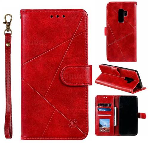 Embossing Geometric Leather Wallet Case for Samsung Galaxy S9 Plus(S9+) - Red