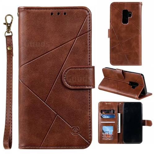Embossing Geometric Leather Wallet Case for Samsung Galaxy S9 Plus(S9+) - Brown