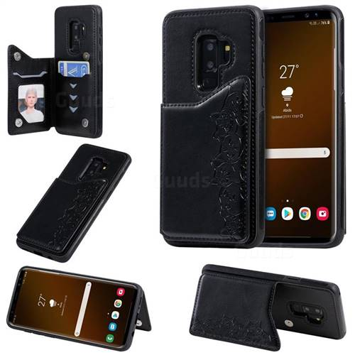 Yikatu Luxury Cute Cats Multifunction Magnetic Card Slots Stand Leather Back Cover for Samsung Galaxy S9 Plus(S9+) - Black