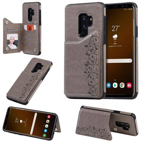 Yikatu Luxury Cute Cats Multifunction Magnetic Card Slots Stand Leather Back Cover for Samsung Galaxy S9 Plus(S9+) - Gray