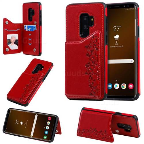 Yikatu Luxury Cute Cats Multifunction Magnetic Card Slots Stand Leather Back Cover for Samsung Galaxy S9 Plus(S9+) - Red