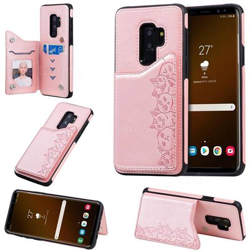 Yikatu Luxury Cute Cats Multifunction Magnetic Card Slots Stand Leather Back Cover for Samsung Galaxy S9 Plus(S9+) - Rose Gold