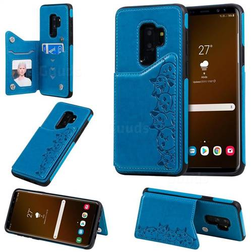 Yikatu Luxury Cute Cats Multifunction Magnetic Card Slots Stand Leather Back Cover for Samsung Galaxy S9 Plus(S9+) - Blue