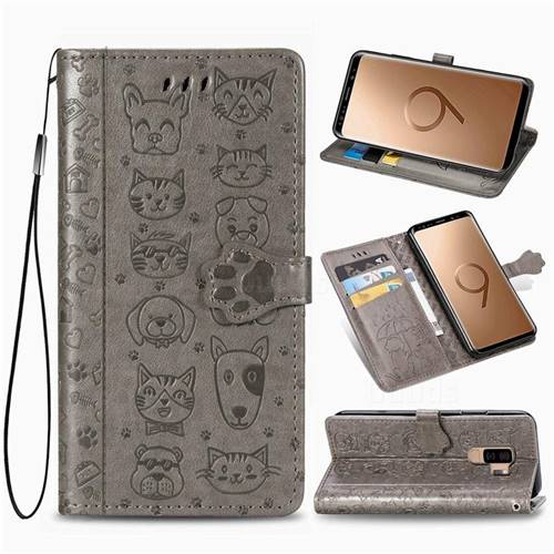 Embossing Dog Paw Kitten and Puppy Leather Wallet Case for Samsung Galaxy S9 Plus(S9+) - Gray