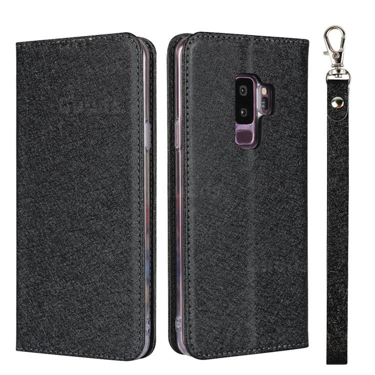 Ultra Slim Magnetic Automatic Suction Silk Lanyard Leather Flip Cover for Samsung Galaxy S9 Plus(S9+) - Black