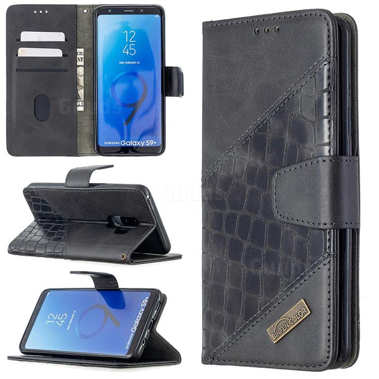 BinfenColor BF04 Color Block Stitching Crocodile Leather Case Cover for Samsung Galaxy S9 Plus(S9+) - Black