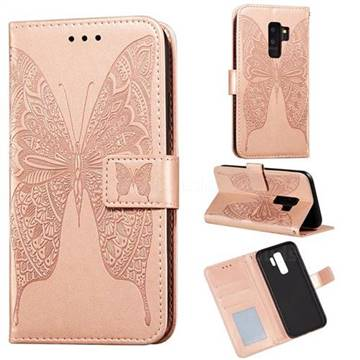 Intricate Embossing Vivid Butterfly Leather Wallet Case for Samsung Galaxy S9 Plus(S9+) - Rose Gold