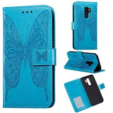 Intricate Embossing Vivid Butterfly Leather Wallet Case for Samsung Galaxy S9 Plus(S9+) - Blue