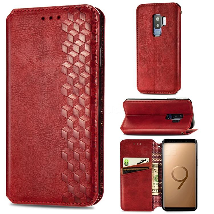 Ultra Slim Fashion Business Card Magnetic Automatic Suction Leather Flip Cover for Samsung Galaxy S9 Plus(S9+) - Red