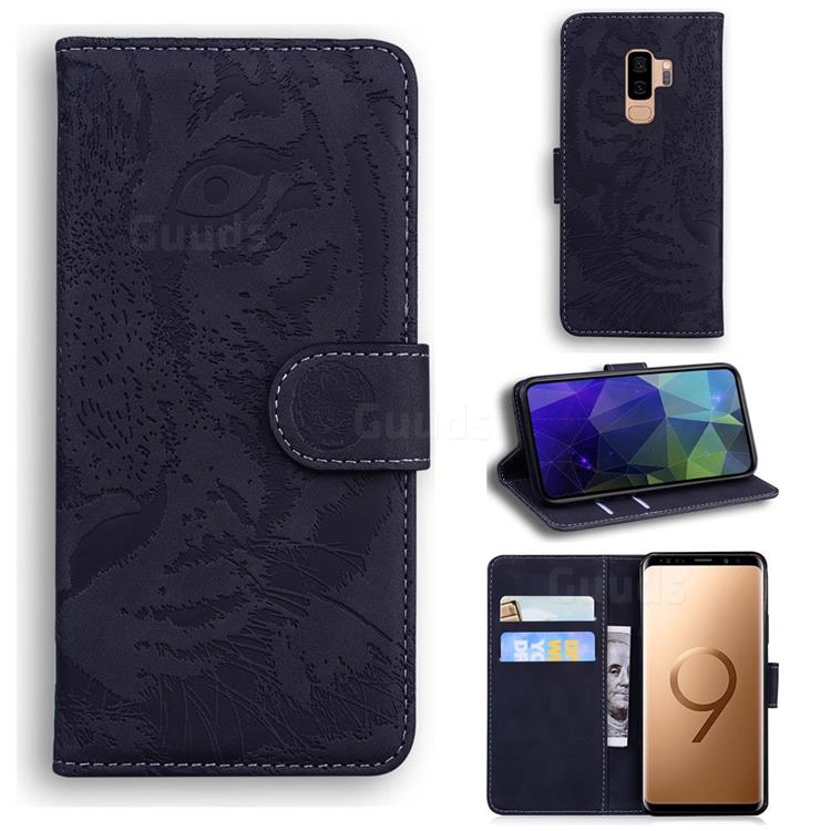 Intricate Embossing Tiger Face Leather Wallet Case for Samsung Galaxy S9 Plus(S9+) - Black