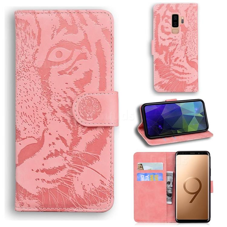 Intricate Embossing Tiger Face Leather Wallet Case for Samsung Galaxy S9 Plus(S9+) - Pink