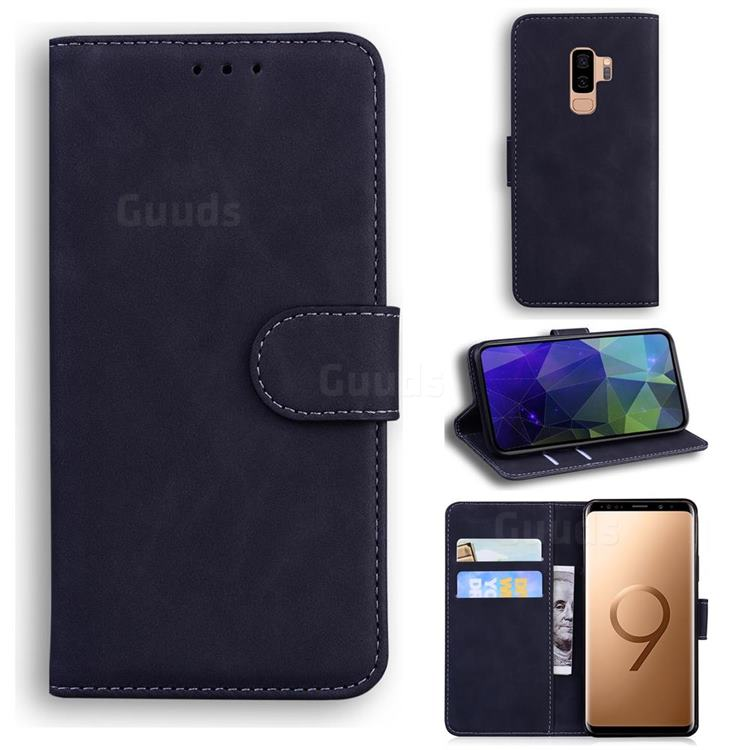 Retro Classic Skin Feel Leather Wallet Phone Case for Samsung Galaxy S9 Plus(S9+) - Black
