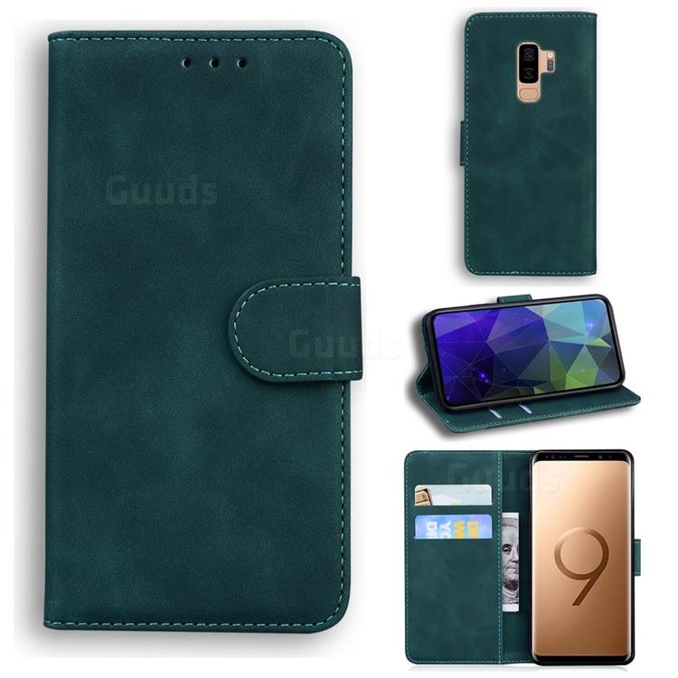 Retro Classic Skin Feel Leather Wallet Phone Case for Samsung Galaxy S9 Plus(S9+) - Green