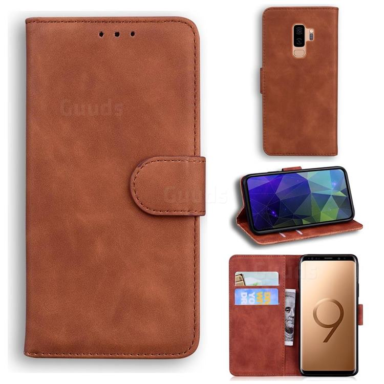 Retro Classic Skin Feel Leather Wallet Phone Case for Samsung Galaxy S9 Plus(S9+) - Brown